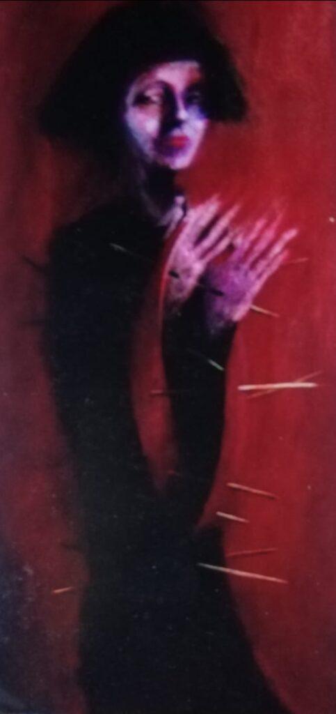Imola Feldberg ,,Așteptând fericirea, acrylics pe pânză, 70 cm x 40 cm.